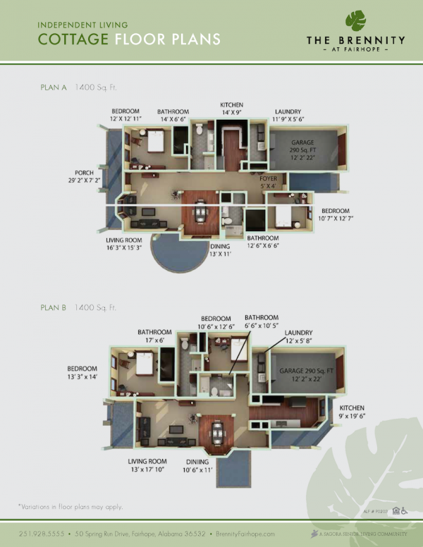 The Brennity at Fairhope cottage floor plans 1
