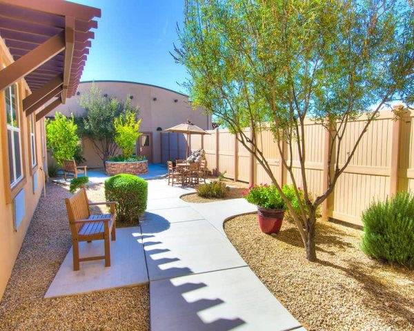 Courtyard and walking paths at Canyon Valley Memory Care
