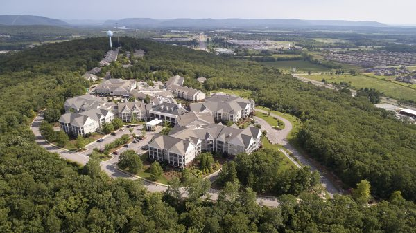 Aerial view of Redstone Village buildings and property