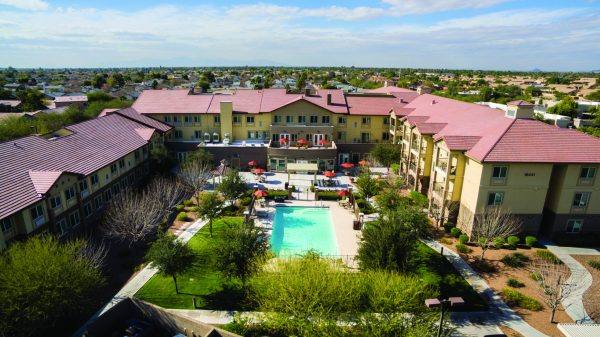 Aerial view of pool and grounds at Palos Verdes Senior Living