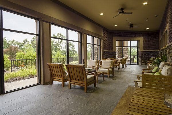 Indoor porch and resident seating at Danberry At Inverness