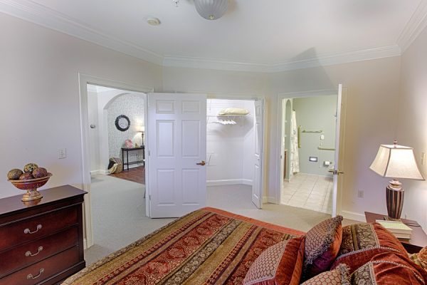Master bedroom in a cottage home at The Brennity at Fairhope