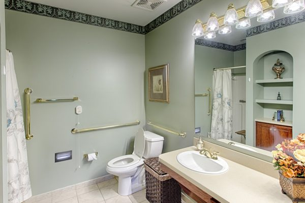 Cottage residence bathroom in the independent living homes at The Brennity at Fairhope
