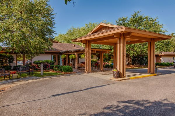 Covered driveway and entrance to The Brennity at Fairhope