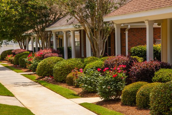 Peaceful sidewalks in front of the The Brennity at Fairhope cottage homes