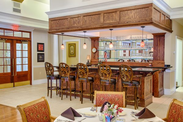 Resident bar and lounge in the independent living area of The Brennity at Fairhope