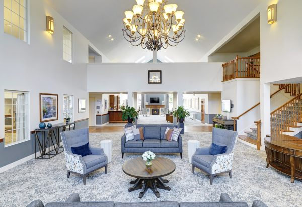 Lobby and resident gathering area in The Residence at Ferry Park