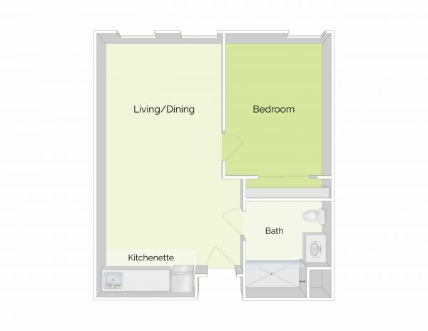 The Residence at Ferry Park 1 bedroom floor plan