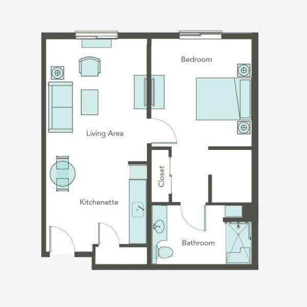 Aegis Gardens Newcastle AL 1 bedroom floor plan