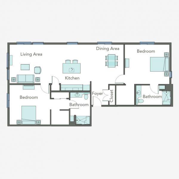 Aegis Gardens Newcastle AL 2 bedroom floor plan