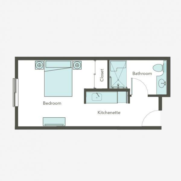 Aegis Gardens Newcastle AL studio floor plan