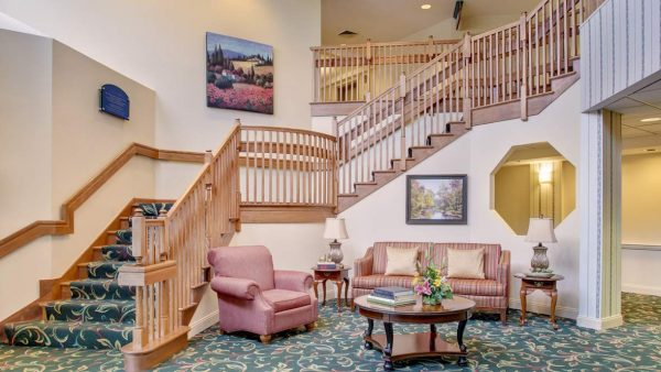 Atria Greenridge Place lobby and grand staircase