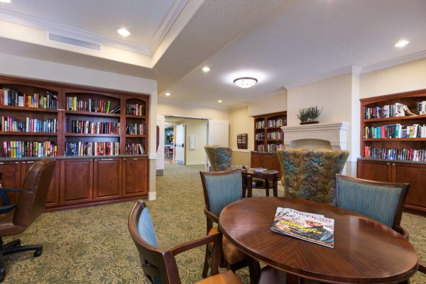 Community library in Palos Verdes Senior Living
