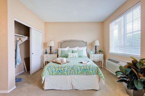 Model bedroom in an apartment at Palos Verdes Senior Living