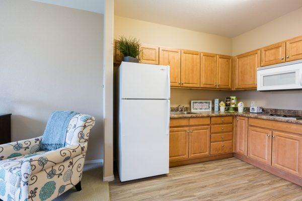 Palos Verdes Senior Living model apartment kitchen