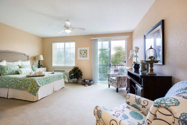 Model apartment bedroom in Palos Verdes Senior Living