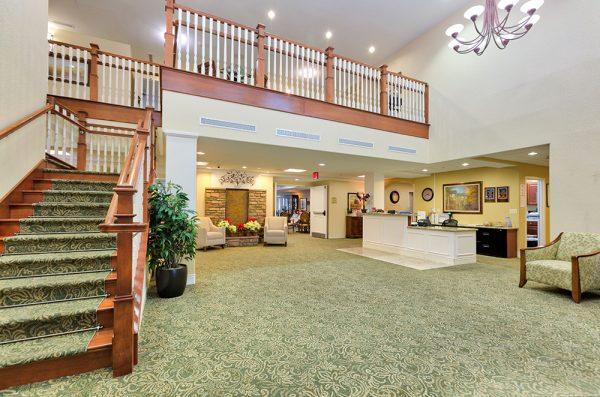 Palos Verdes Senior Living lobby and staircase