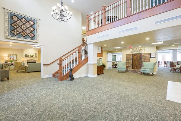 Lobby and staircase to second floor in Mountain Park Senior Living