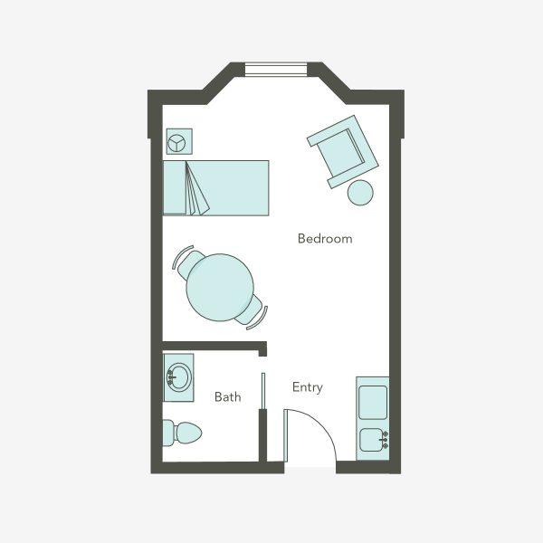 Aegis Living Issaquah MC studio floor plan