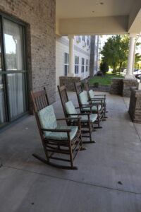 Rocking chairs on the Westchester Village at Providence Place porch