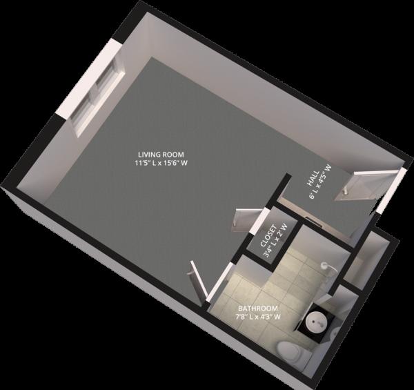The Madison Village Studio A floor plan