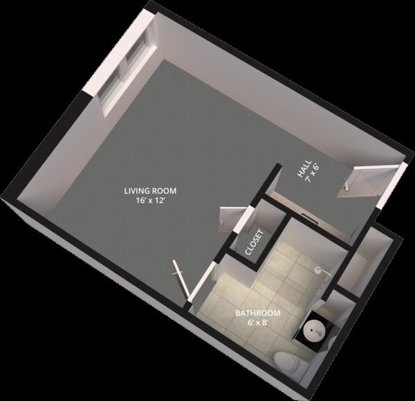 The Madison Village Studio B floor plan