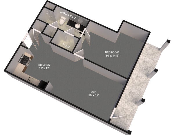 The Madison Village Unit E floor plan