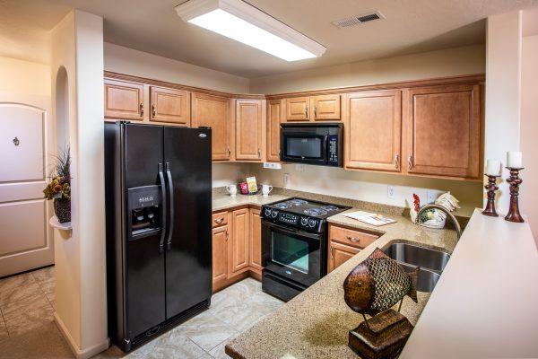 Model kitchen in a residence in Preston Pointe