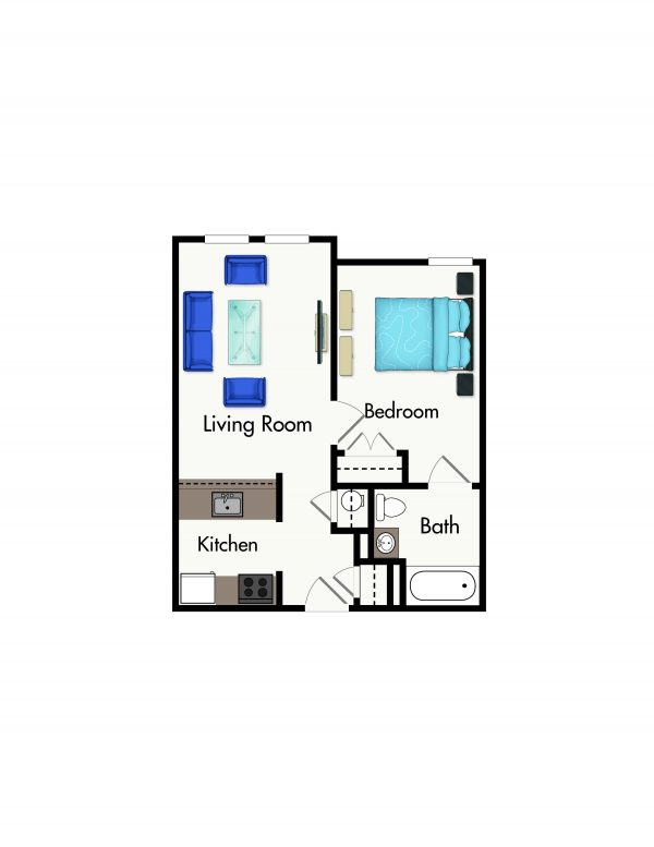 Cromwell House Apartments one bedroom floor plan