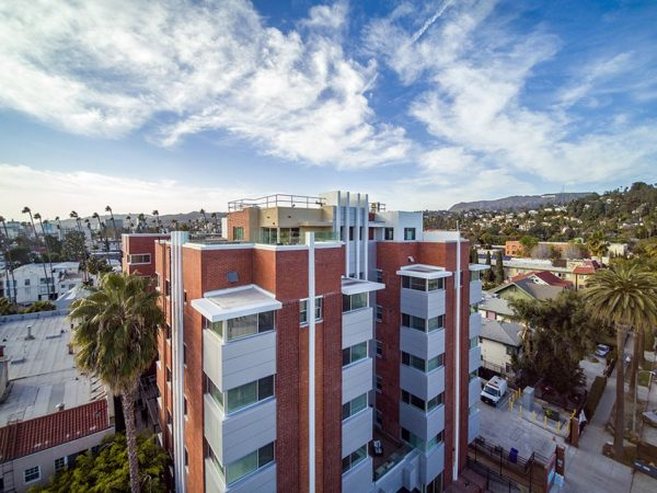 Aerial view of Hollywood Hills building