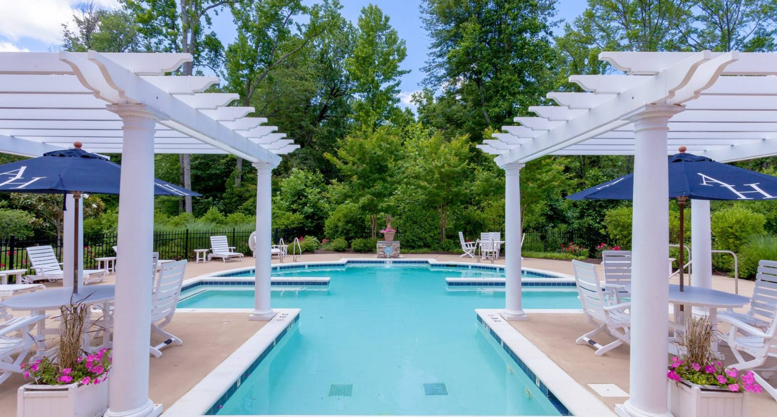Pool and trellises at Alexander Heights Senior Apartments in Fredericksburg, VA