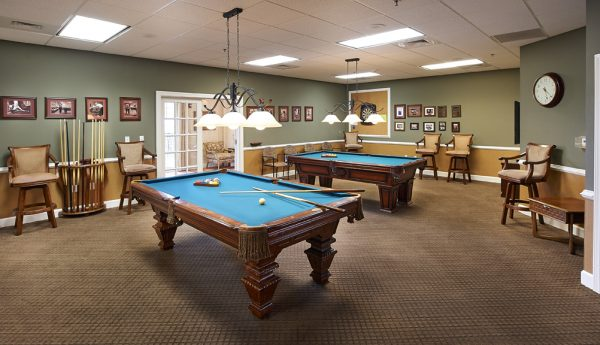 Redstone Village billiards room with 2 pool tables