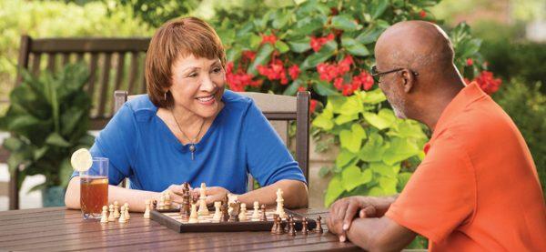 Senior residents of Windsor Run playing chess