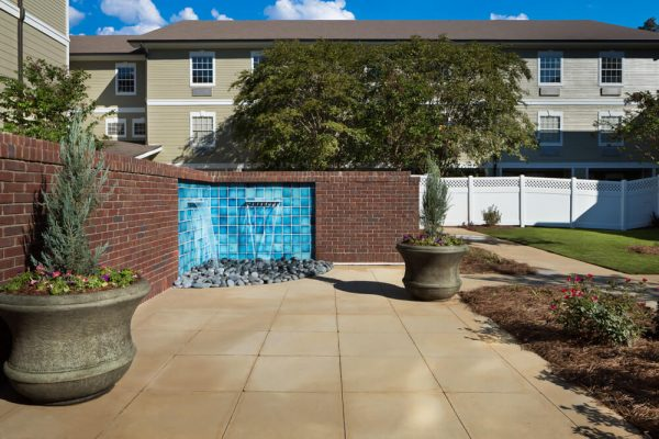 Courtyard with water feature at River Highlands
