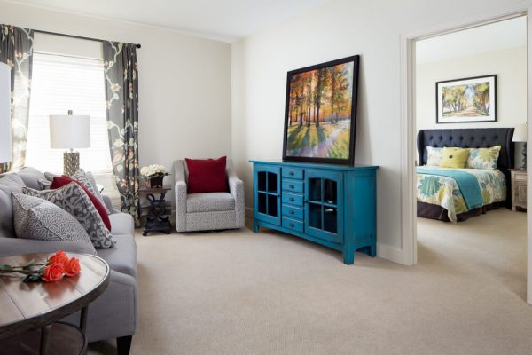 Model apartment interior in River Highlands
