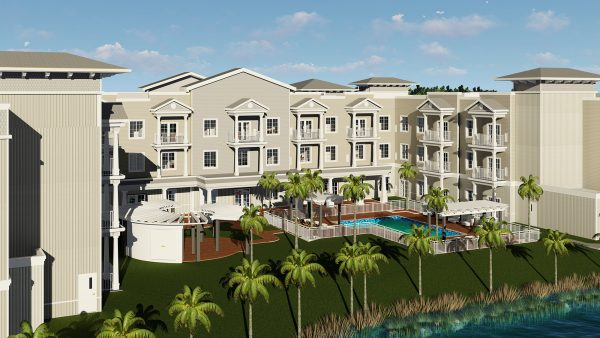 Exterior rendering of Seagrass Village of Fleming Island showing building and grounds and pool surrounded by palm trees
