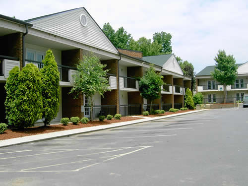 Parking area in front of Senior Villages with trees and manicured hedges out front