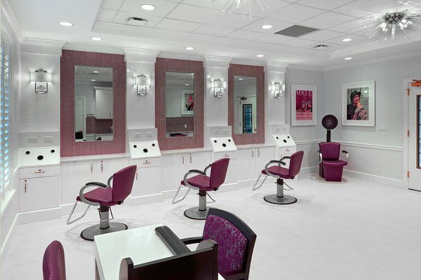 Beauty salon at The Bristal Assisted Living at Garden City with three stations and a manicure desk