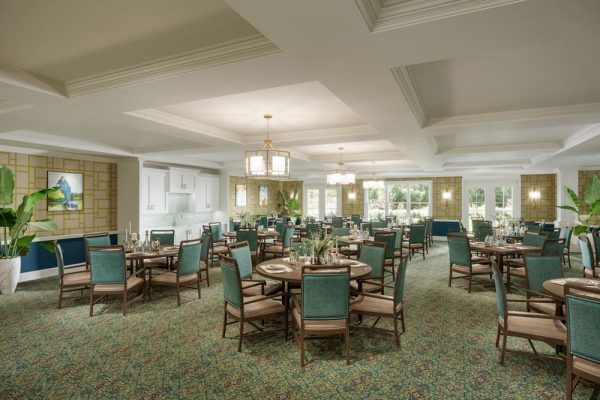 The Bristal Assisted Living at Somerset dining room with light green carpet, ample seating and white coffered ceiling
