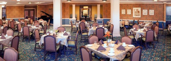 The Bristal Assisted Living at Woodcliff Lake dining room with many four top tables