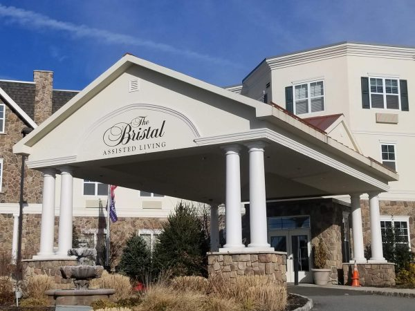 The Bristal Assisted Living at Woodcliff Lake entrance canopy