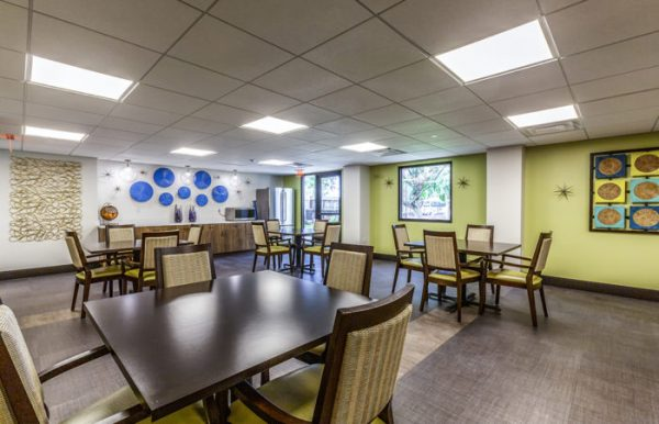 The Palazzo community shared activity space with many 4 top tables