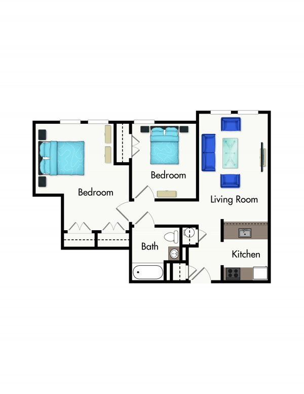 Cromwell House Apartments two bedroom floor plan