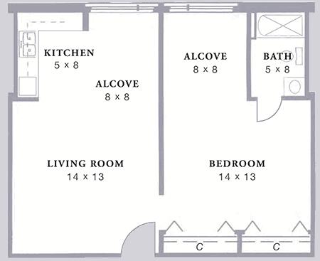 Arbor Acres United Methodist Womble 1 bed alcove floor plan
