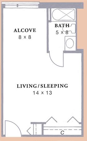 Arbor Acres United Methodist Womble studio alcove floor plan
