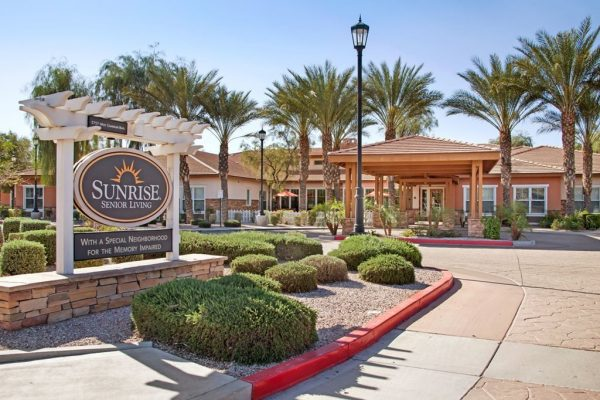 Entrance sign and building front of Sunrise of Chandler
