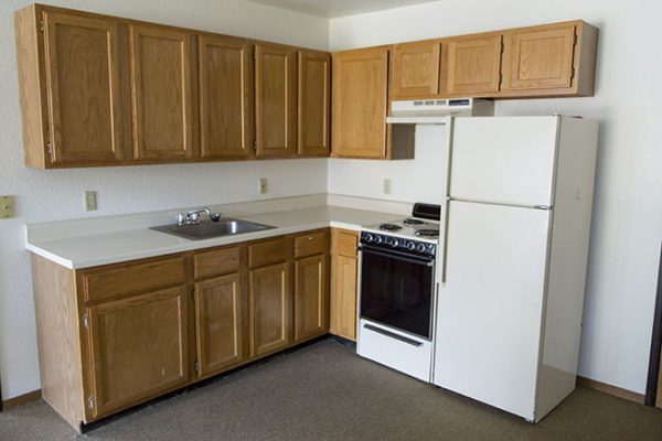 Model kitchen in a Brookdale Fort Smith apartment