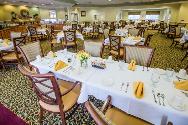 Brookdale Place at Jones Farm community dining room