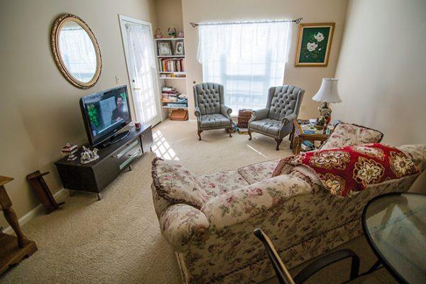 Brookdale Place at Jones Farm model apartment living room