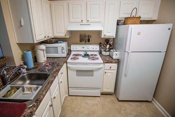 Model apartment kitchen at Brookdale Place at Jones Farm
